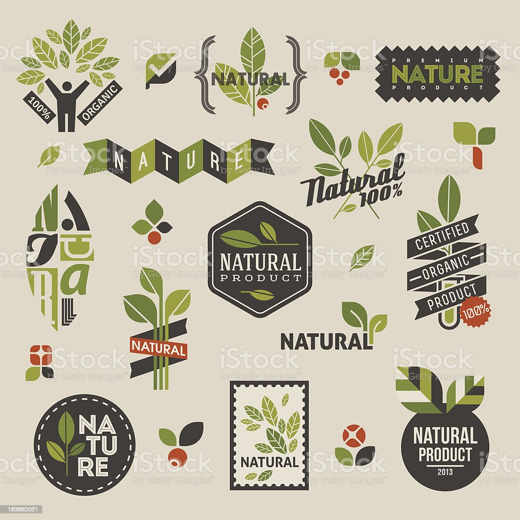 Nature labels and emblems with green leaves vector art illustration