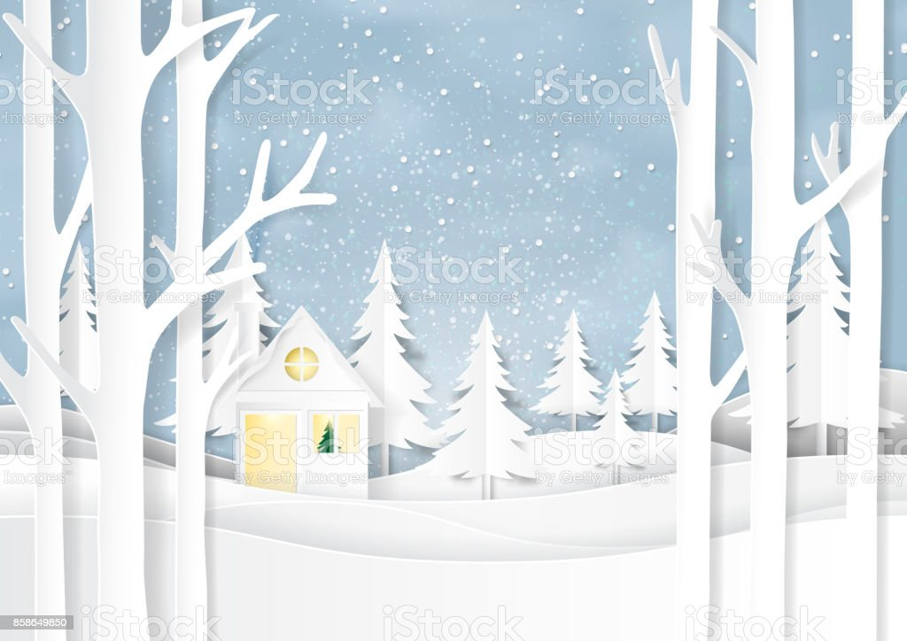 Nature Landscape And House On Winter Season Paper Art