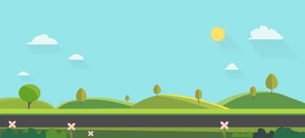 natur-landschaft-hintergrund. niedliche flache bauweise. green hills mit blauem himmel. öffentlicher park mit der natur und straße. vektor-illustration - landstraße stock-grafiken, -clipart, -cartoons und -symbole