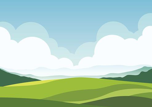 nature landscape background, cuted flat design