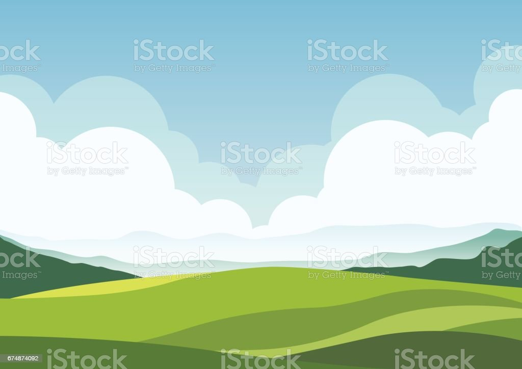 nature landscape background, cuted flat design vector art illustration
