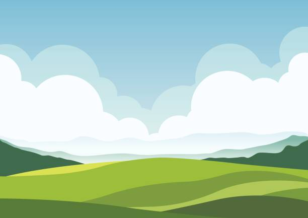 nature landscape background, cuted flat design - панорамный stock illustrations