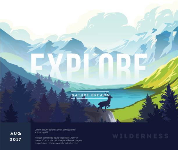 Nature landscape background Nature landscape background with silhouettes of mountains and trees. Vector Illustration wilderness stock illustrations