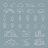 Nature landscape thin line elements icons. Vector nature landscape items