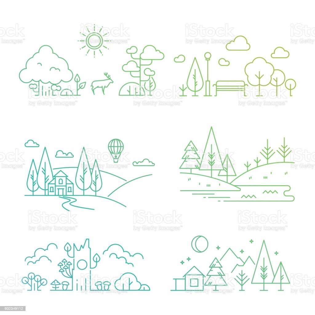 Natur-Landschaft-Icons mit Baum, Pflanzen, Berge, Fluss – Vektorgrafik