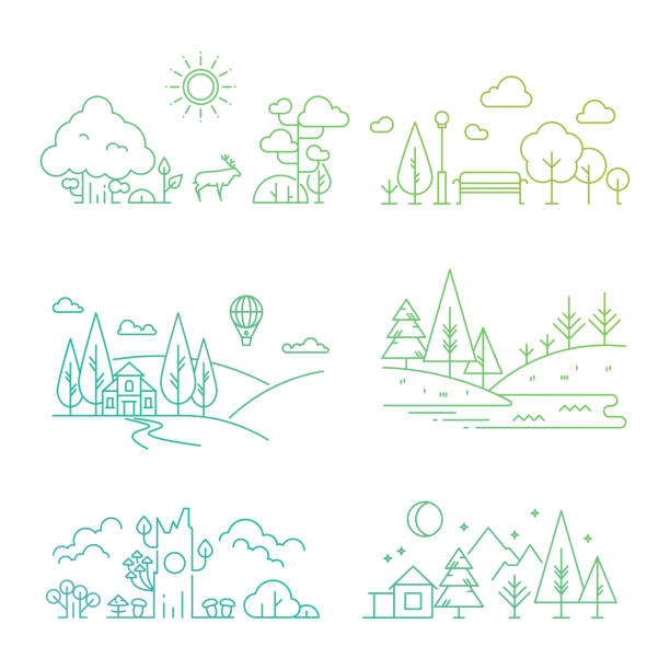 nature landscape icons with tree, plants, mountains, river - nature travel stock illustrations, clip art, cartoons, & icons