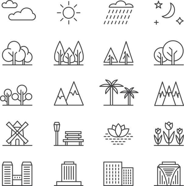 Nature landscape line vector elements and houses. Outline trees and mountains icons vector art illustration