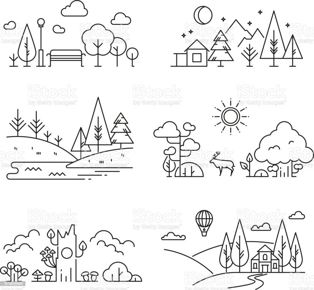 Nature landscape outline icons with tree, plants, mountains, river - Векторная графика Векторная графика роялти-фри