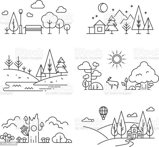 Nature landscape outline icons with tree plants mountains river vector id673835980?b=1&k=6&m=673835980&s=612x612&h=bit9hh4mc 1rre5r3jw0xkhwtdhkjaqhtpksd00 ejo=