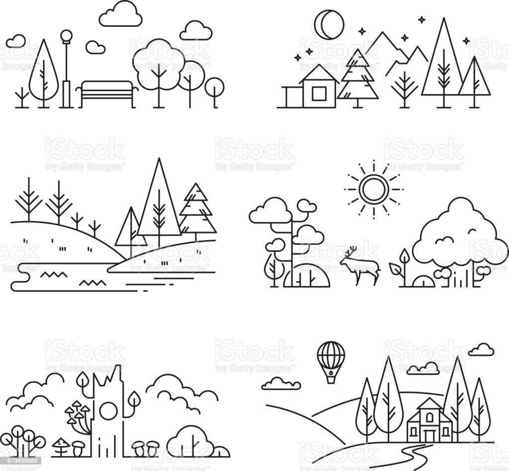 Nature landscape outline icons with tree, plants, mountains, river vector art illustration