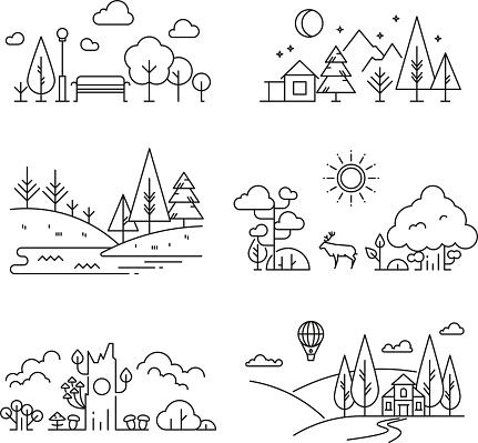 Nature Landscape Outline Icons With Tree Plants Mountains River — стоковая векторная графика и другие изображения на тему Векторная графика