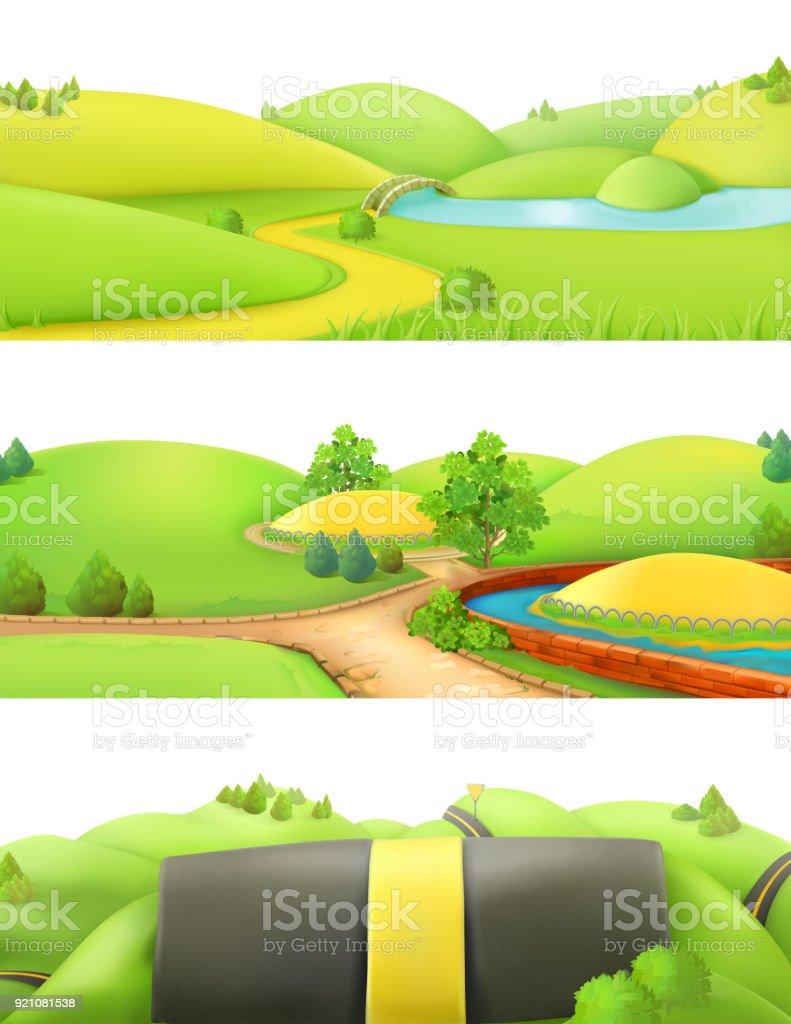 Nature landscape. Park and outdoor. Cartoon game background. 3d vector set