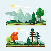Nature landscape. Park garden background with road trees stones and plants blue sky cartoon vector weather illustration. Illustration of landscape park garden, outdoor flora