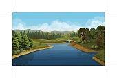 Nature landscape, river, vector background