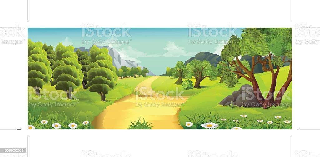 Nature landscape, rural road, vector background vector art illustration