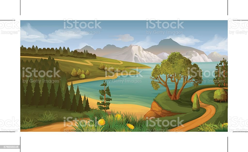 Nature landscape, sea bay, vector background vector art illustration