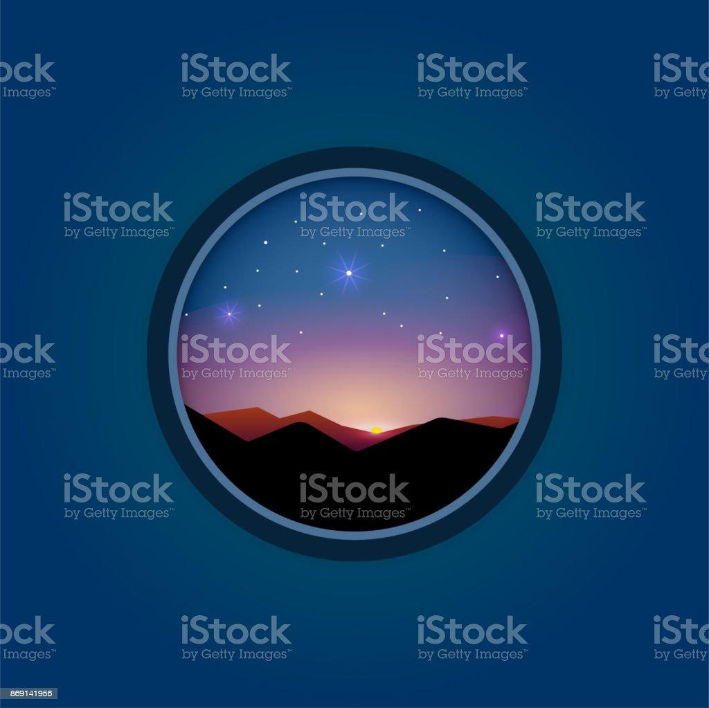 Nature landscape vector flat sunrise vector art illustration