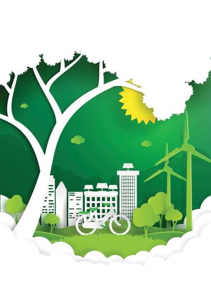 natur-landschaft mit grünen stadt und umwelt erhaltung. - umweltkonzept stock-grafiken, -clipart, -cartoons und -symbole
