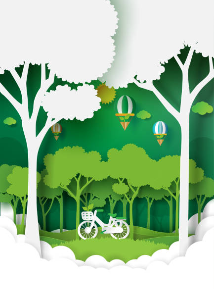 Nature landscape with green environment conservation. Eco and nature concept paper art style design.Forest plantation with green environment and ecology conservation concept.Vector illustration. paper craft stock illustrations