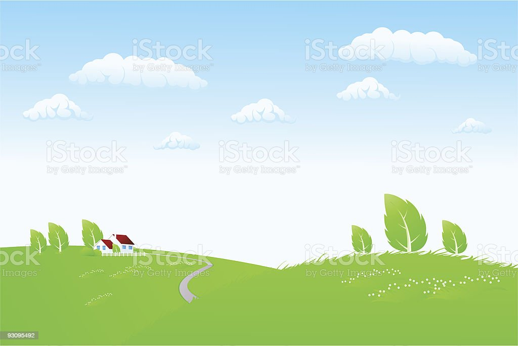 Nature landscape with house royalty-free stock vector art