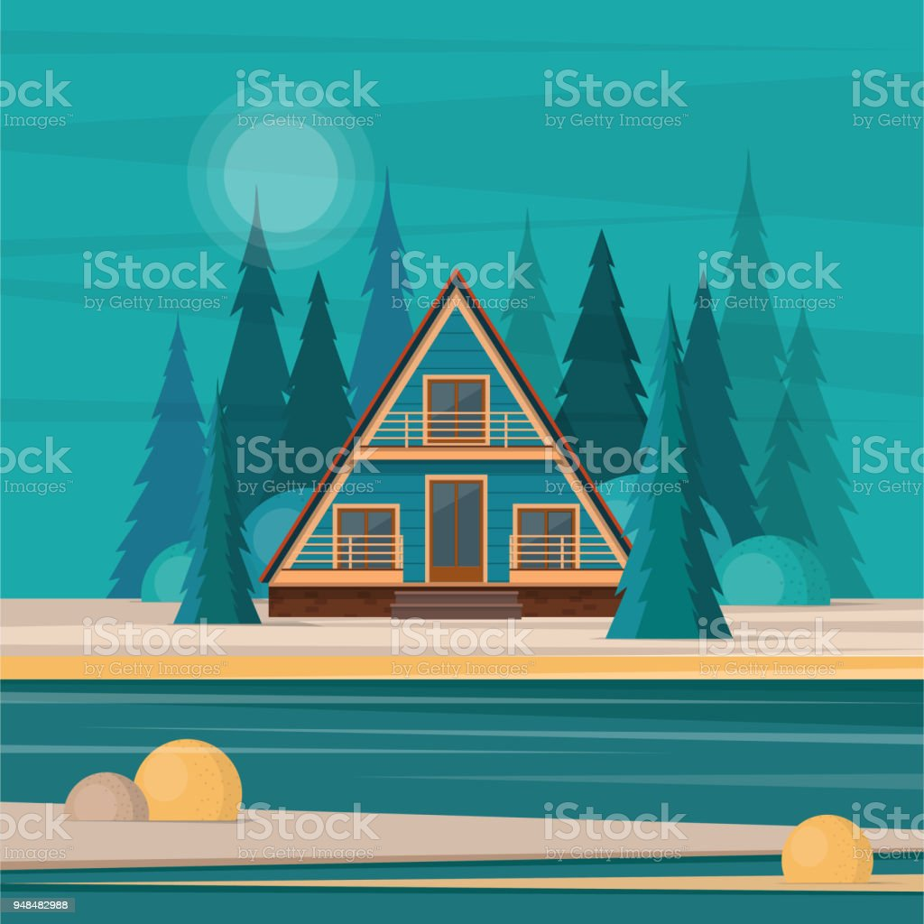Nature landscape with secluded hut in the middle of fir forest a vector art illustration