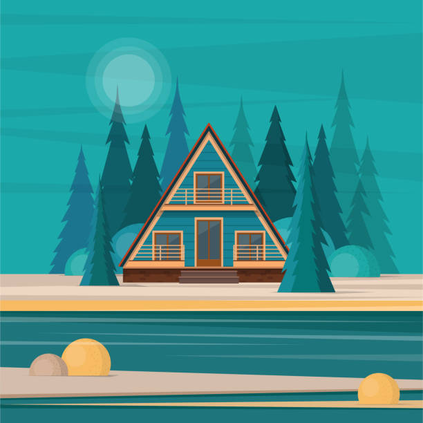 nature landscape with secluded hut in the middle of fir forest a - log cabin stock illustrations, clip art, cartoons, & icons
