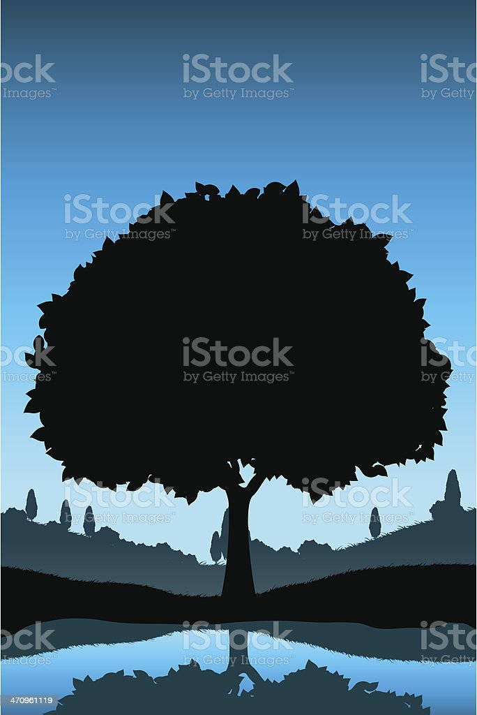 Nature Landscape with Tree Silhouette vector art illustration