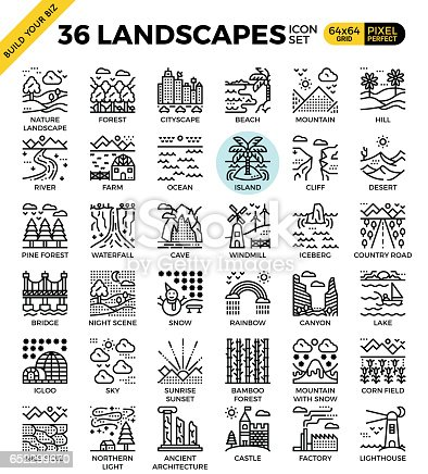 Nature landscapes pixel perfect outline icons modern style for website or print illustration