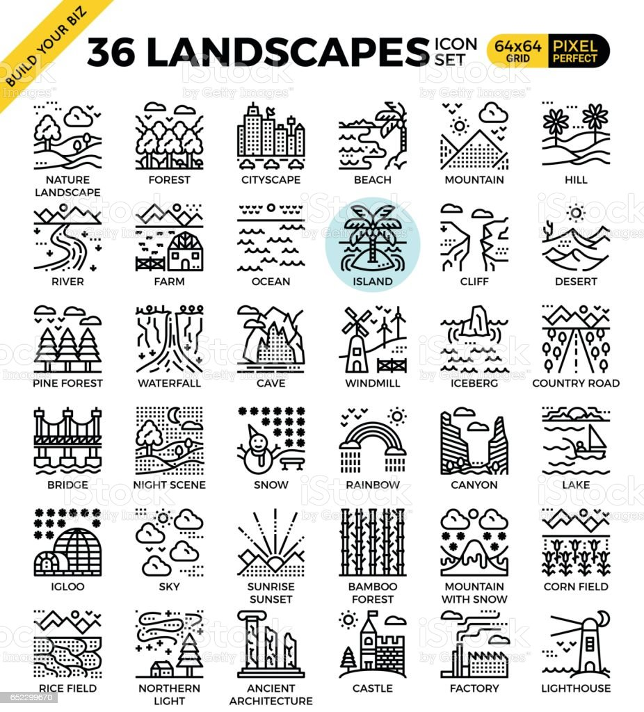 Nature landscapes pixel perfect outline icons vector art illustration