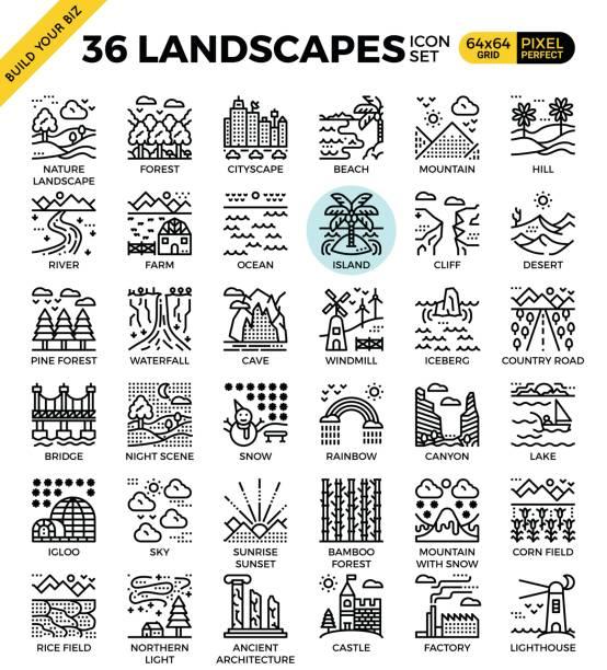 ilustraciones, imágenes clip art, dibujos animados e iconos de stock de naturaleza paisajes iconos de contorno perfecto pixel - lago