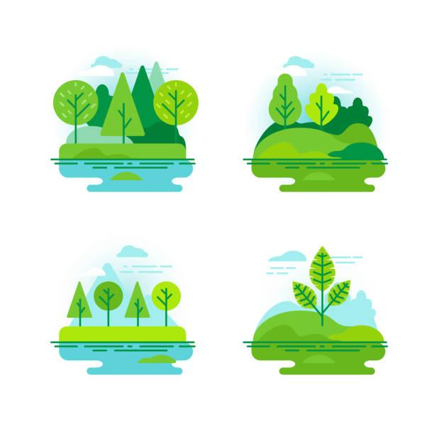 自然風景與綠樹 - 大自然 幅插畫檔、美工圖案、卡通及圖標