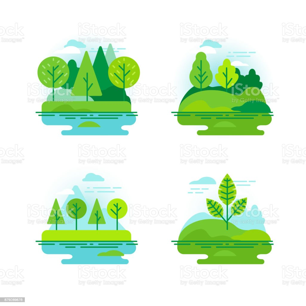 Nature landscapes with green trees vector art illustration