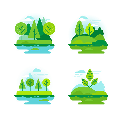Nature Landscapes With Green Trees - Stockowe grafiki wektorowe i więcej obrazów Baner