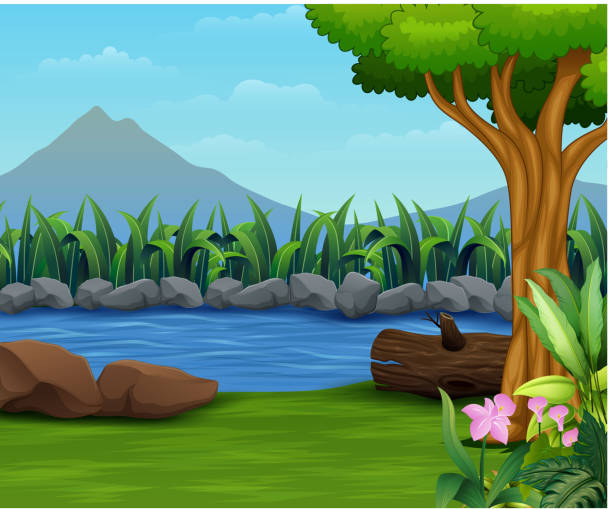 nature lanscape with a river and mountain backround - pond stock illustrations
