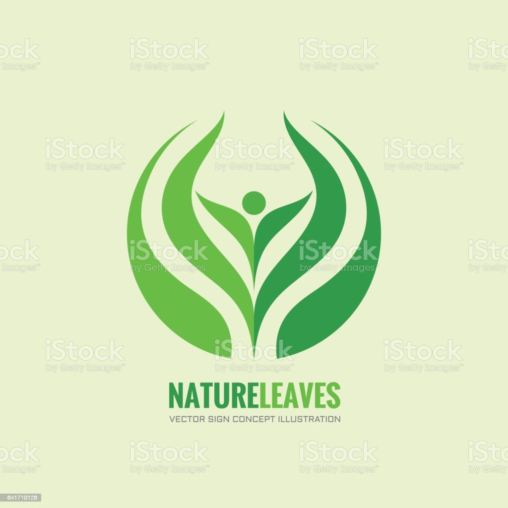 Nature leaves - vector logo concept illustration. Organica abstract human sign. Design element. vector art illustration