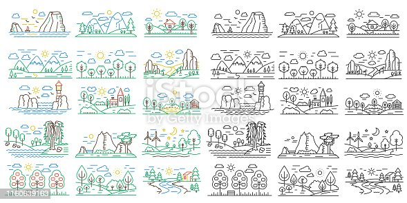 Nature line icon mini landscapes with mountains, fields and rivers. Outline color and black vector nature concept illustrations
