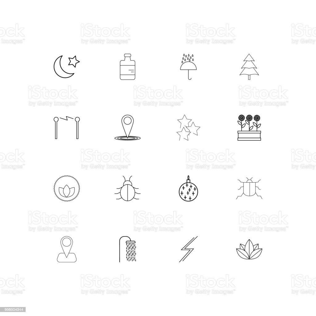 Natur lineare dünne Symbole festgelegt. Beschriebenen einfachen Vektor-icons - Lizenzfrei Aserbaidschan Vektorgrafik
