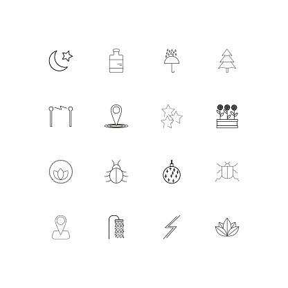 Natur Lineare Dünne Symbole Festgelegt Beschriebenen Einfachen Vektoricons Stock Vektor Art und mehr Bilder von Aserbaidschan