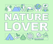 Nature lover word concepts banner. Naturalist. Environment protection and preservation. Presentation, website. Isolated lettering typography idea with linear icons. Vector outline illustration