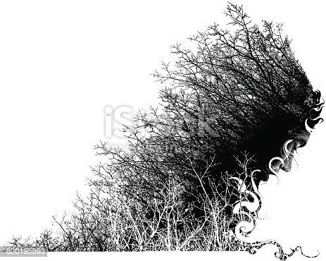 Mezzotint illustration of a nature man portrait.