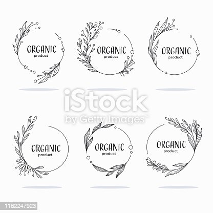 Nature, Organic, Bio, Nature doodle floral  leave emblems,  frames and logo