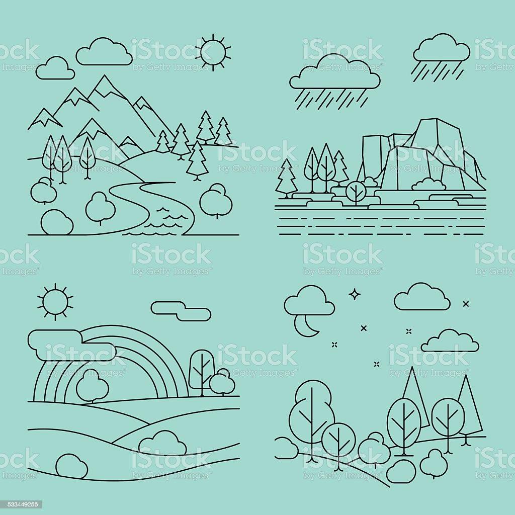Nature outline landscapes vector vector art illustration