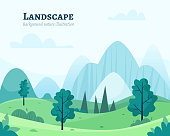 Nature park or forest outdoor background with trees. Flat cartoon style vector illustration.