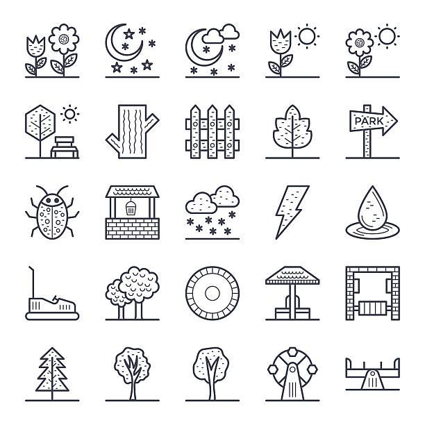 natur, park, pflanzen, bäume, vektor-icons 2 - lärchenzaun stock-grafiken, -clipart, -cartoons und -symbole