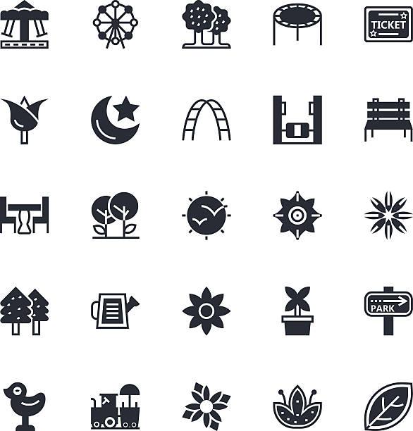 nature, park vector icons 1 - monkey bars stock illustrations, clip art, cartoons, & icons