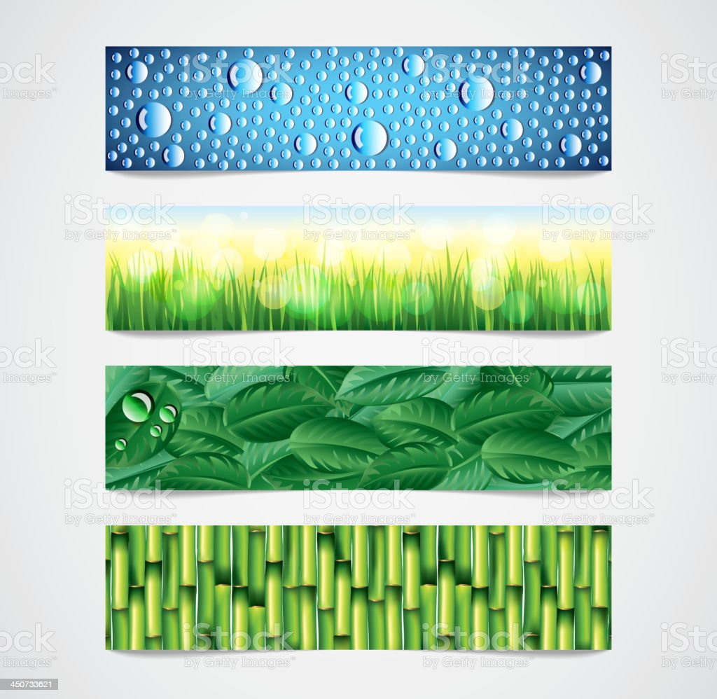 Nature patterns vector banners set vector art illustration