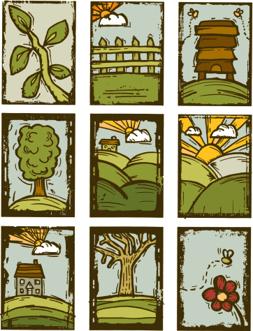 Nature Prints Stockvectorkunst en meer beelden van Architectuur