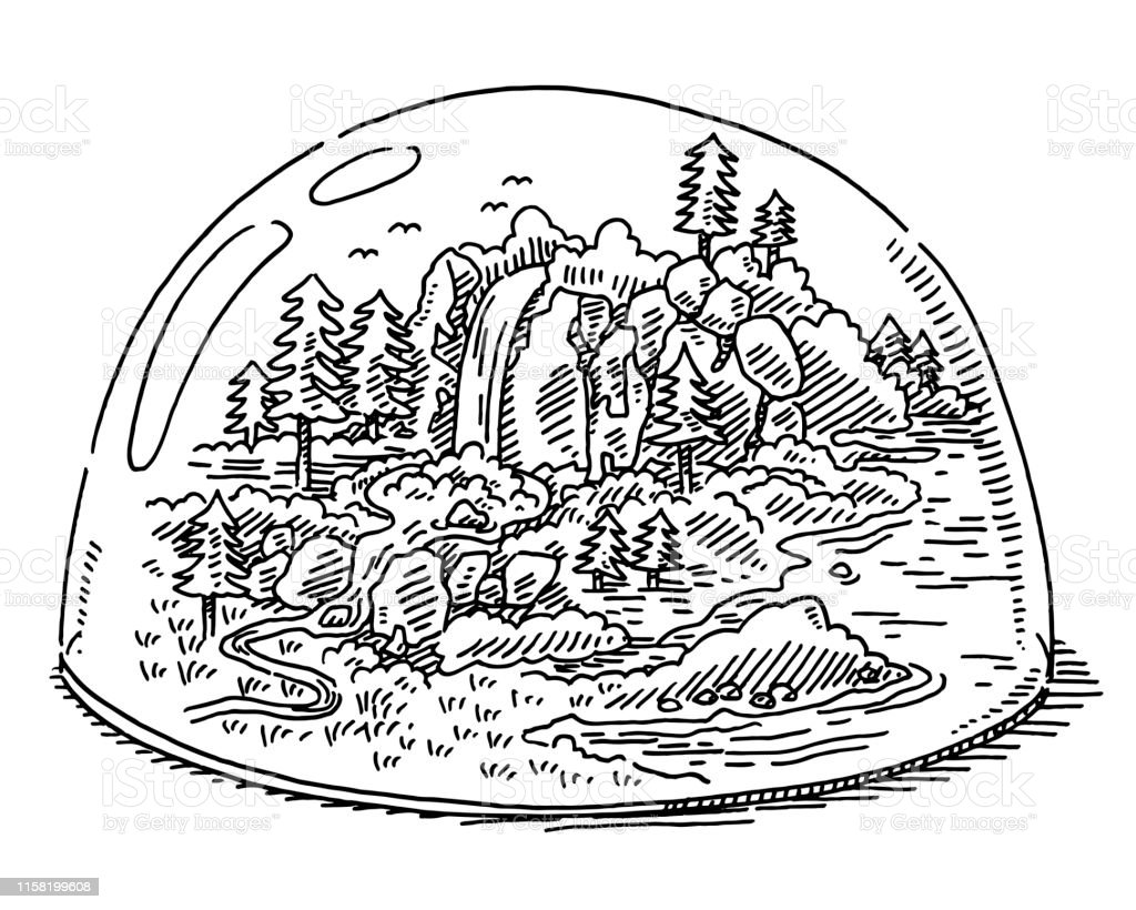 Hand-drawn vector drawing of a Nature Protection Area Concept....