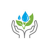 Hands save nature icon isolated on white