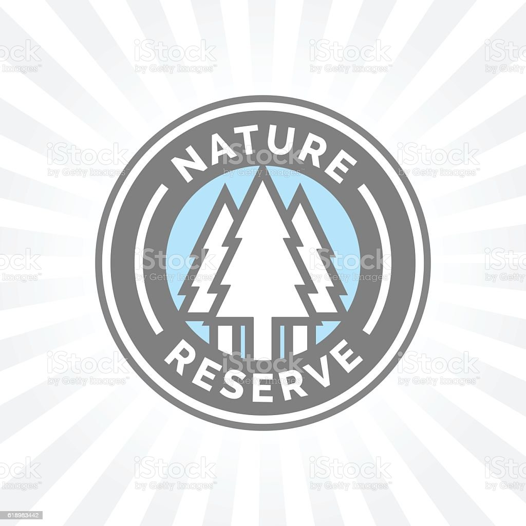 Nature reserve icon badge. Protected forest sign. Trees silhouette symbol. vector art illustration